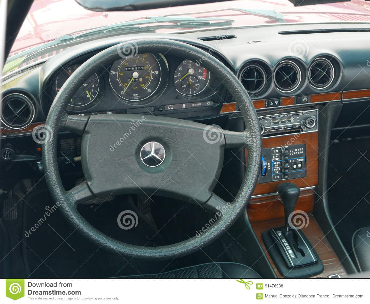 Interior Of A Mercedes Benz 450 Sl Parked In Lima Editorial Stock