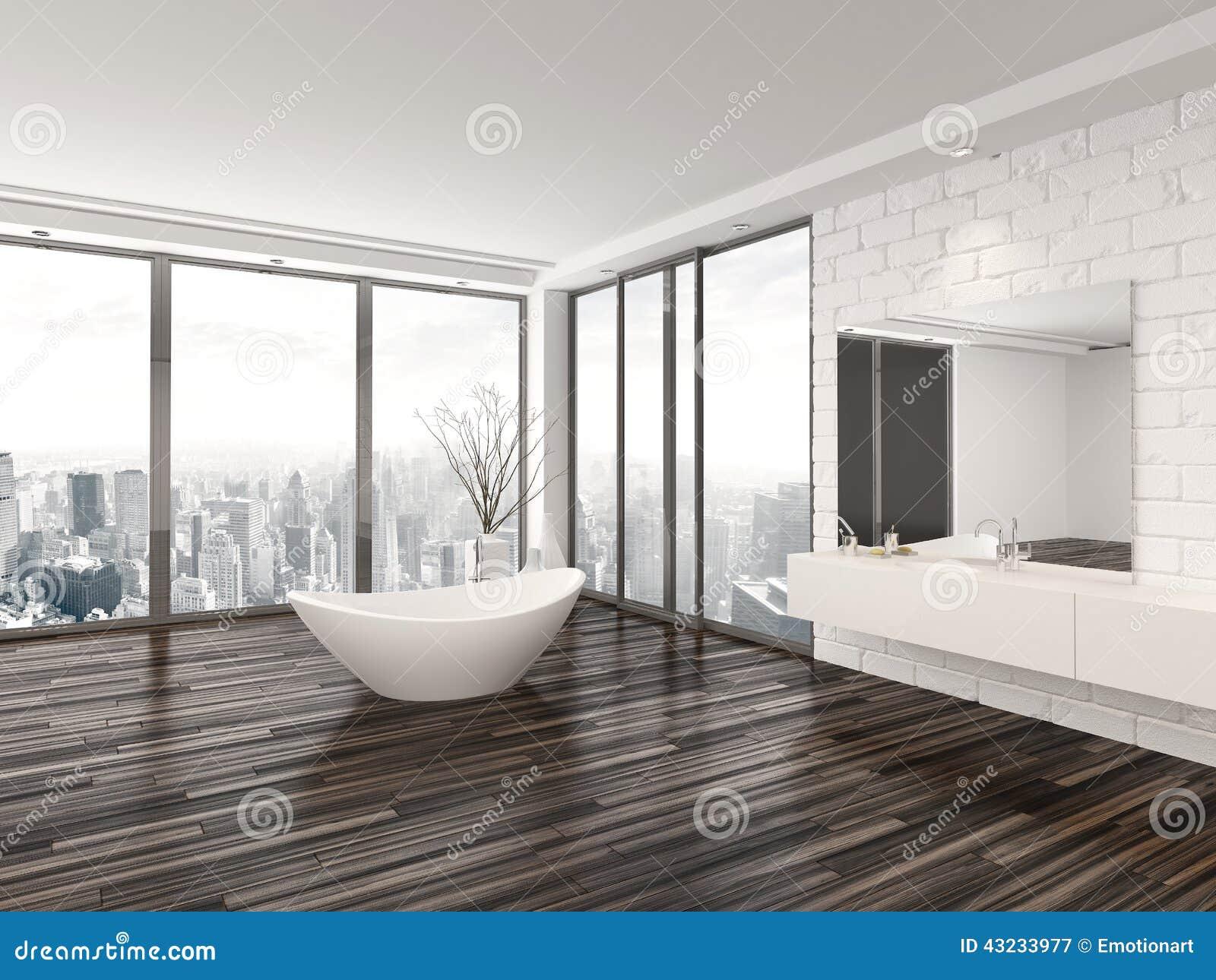 Interior Minimalista Branco Moderno Do Banheiro Ilustração Stock  #82A328 1300x1065 Banheiro Branco Moderno