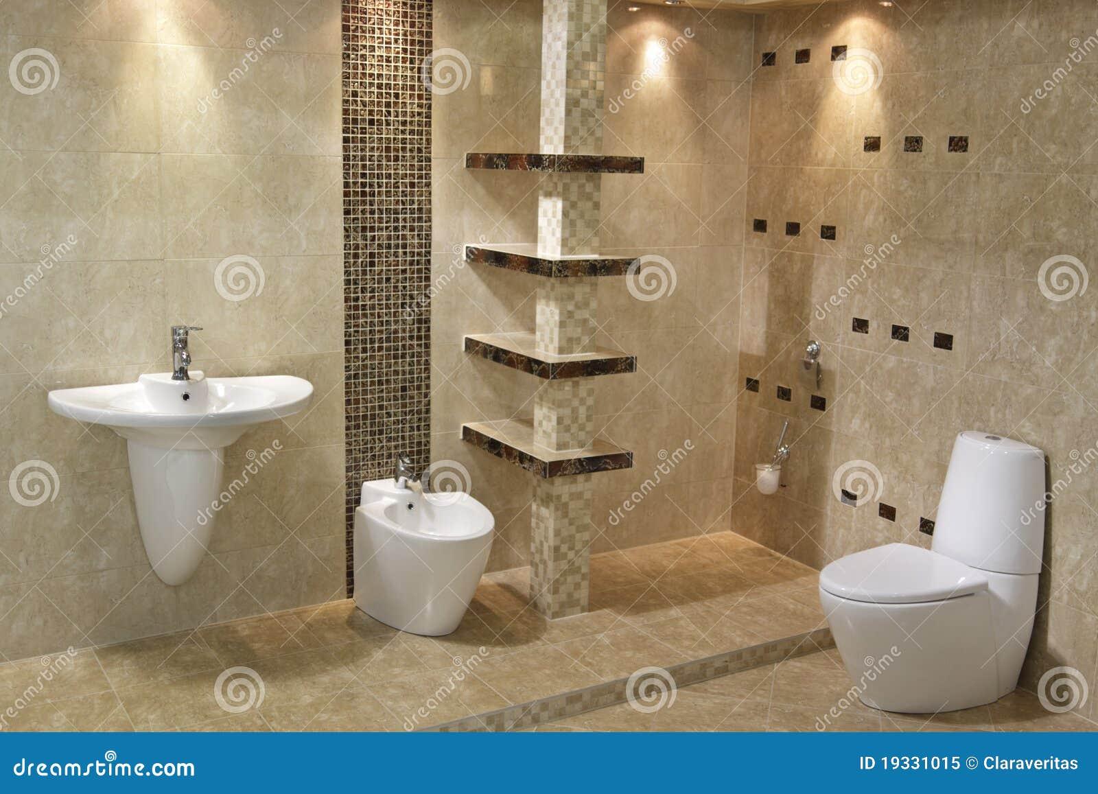 Estilo moderno da arquitetura no banheiro com dissipador do toalete e  #85A922 1300x957 Arquitetura Interior Banheiro