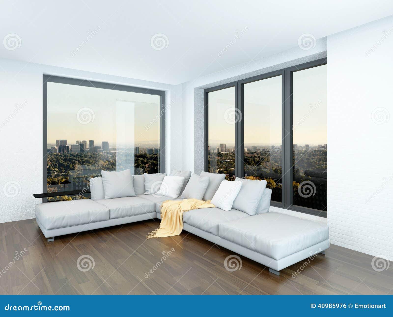 Sala De Estar Minimalista Moderno ~ Interior minimalista moderno da sala de estar com uma unidade de canto