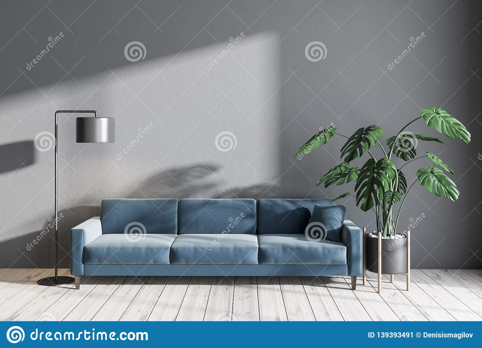 Gray Living Room With Blue Sofa Stock Illustration Illustration Of Front Luxurious 139393491