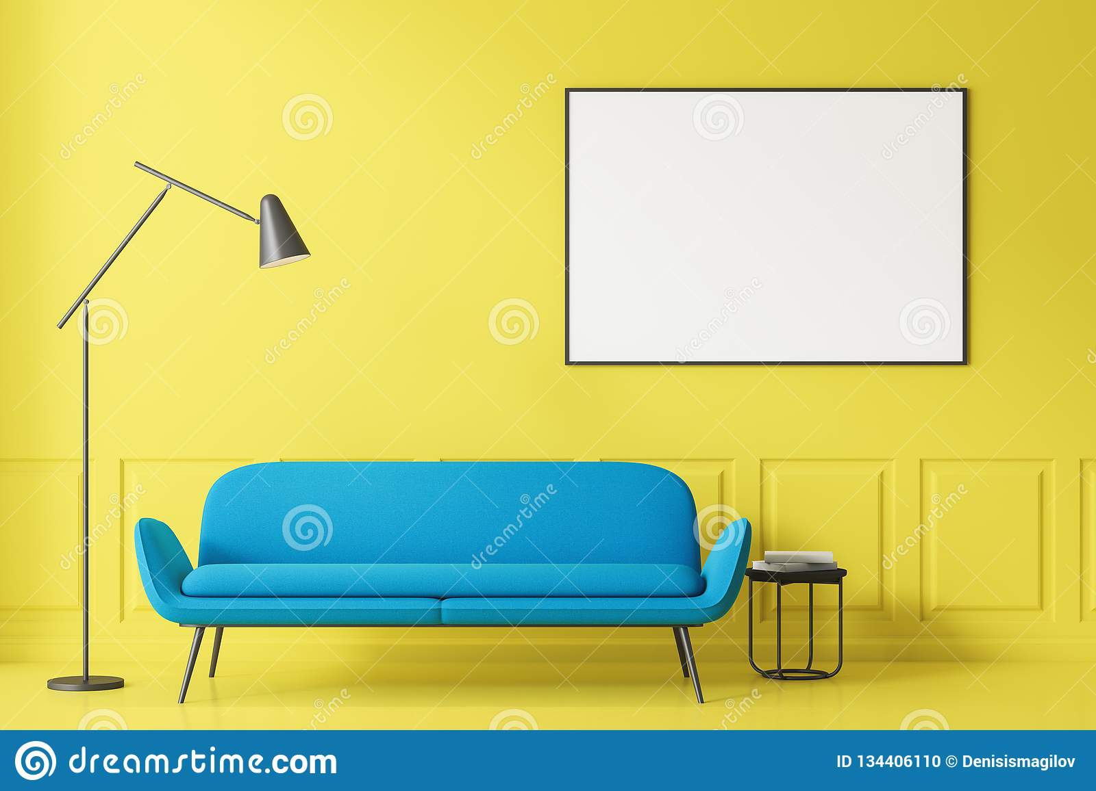 Yellow Living Room Blue Sofa And Poster Stock Illustration Illustration Of Floor Minimal 134406110