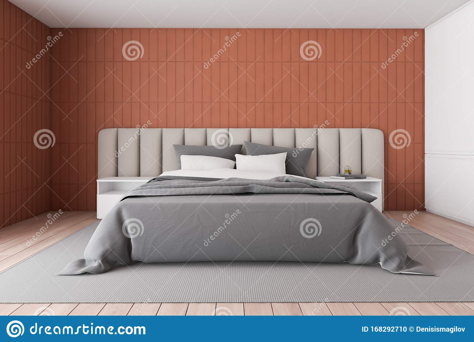 Front View Of Orange Master Bedroom Stock Illustration Illustration Of Comfortable Investment 168292710