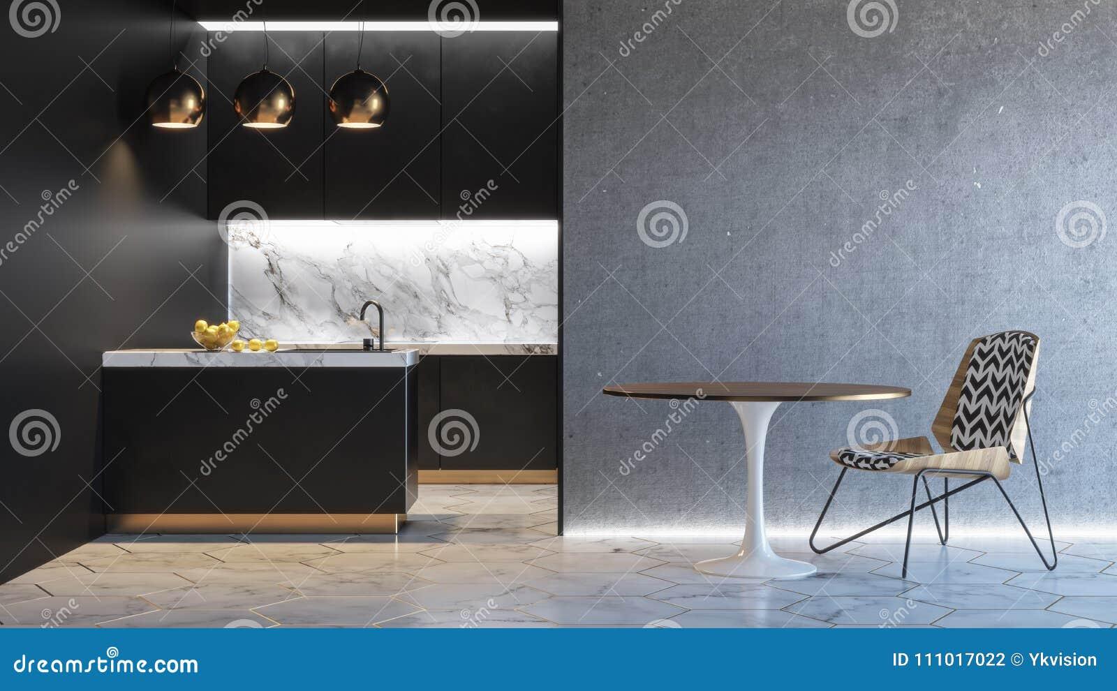 Interior minimalistic preto da cozinha 3d rendem a zombaria da ilustração acima