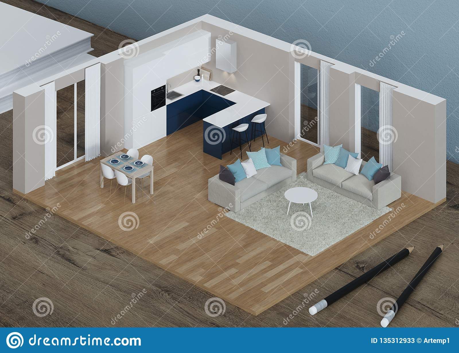 Interior Model On The Desktop 3d Modeling Stock Illustration Illustration Of House Design 135312933