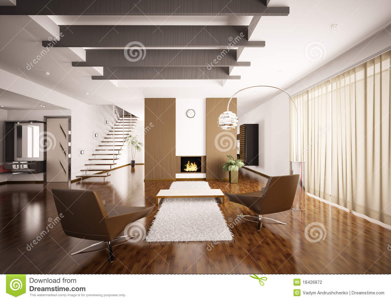 Interior of modern apartment 3d render stock photography for Living hall interior