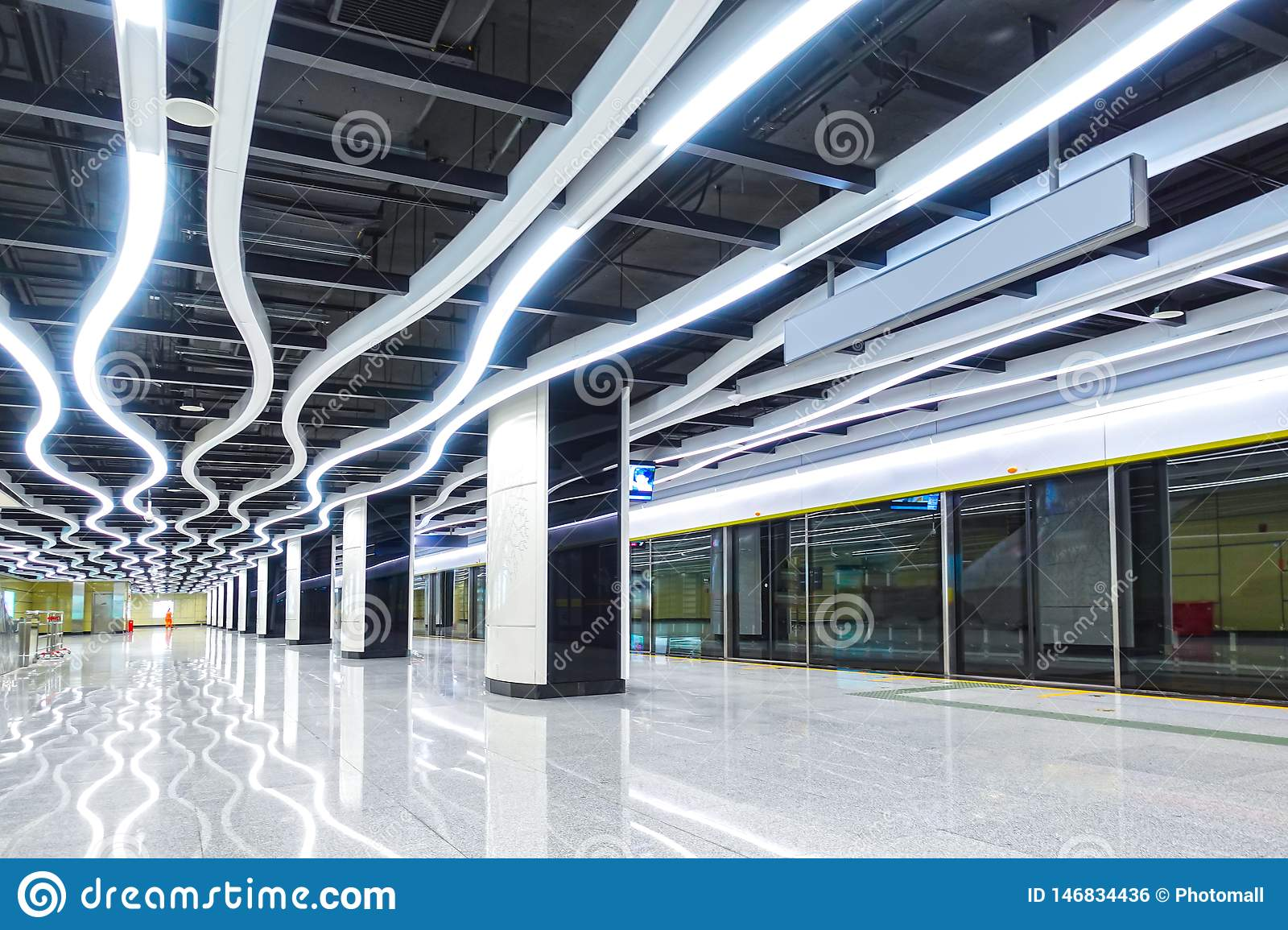 Interior Of Modern Architecture Commercial Building Led Lighting System Stock Photo Image Of Facilities Conurbation 146834436