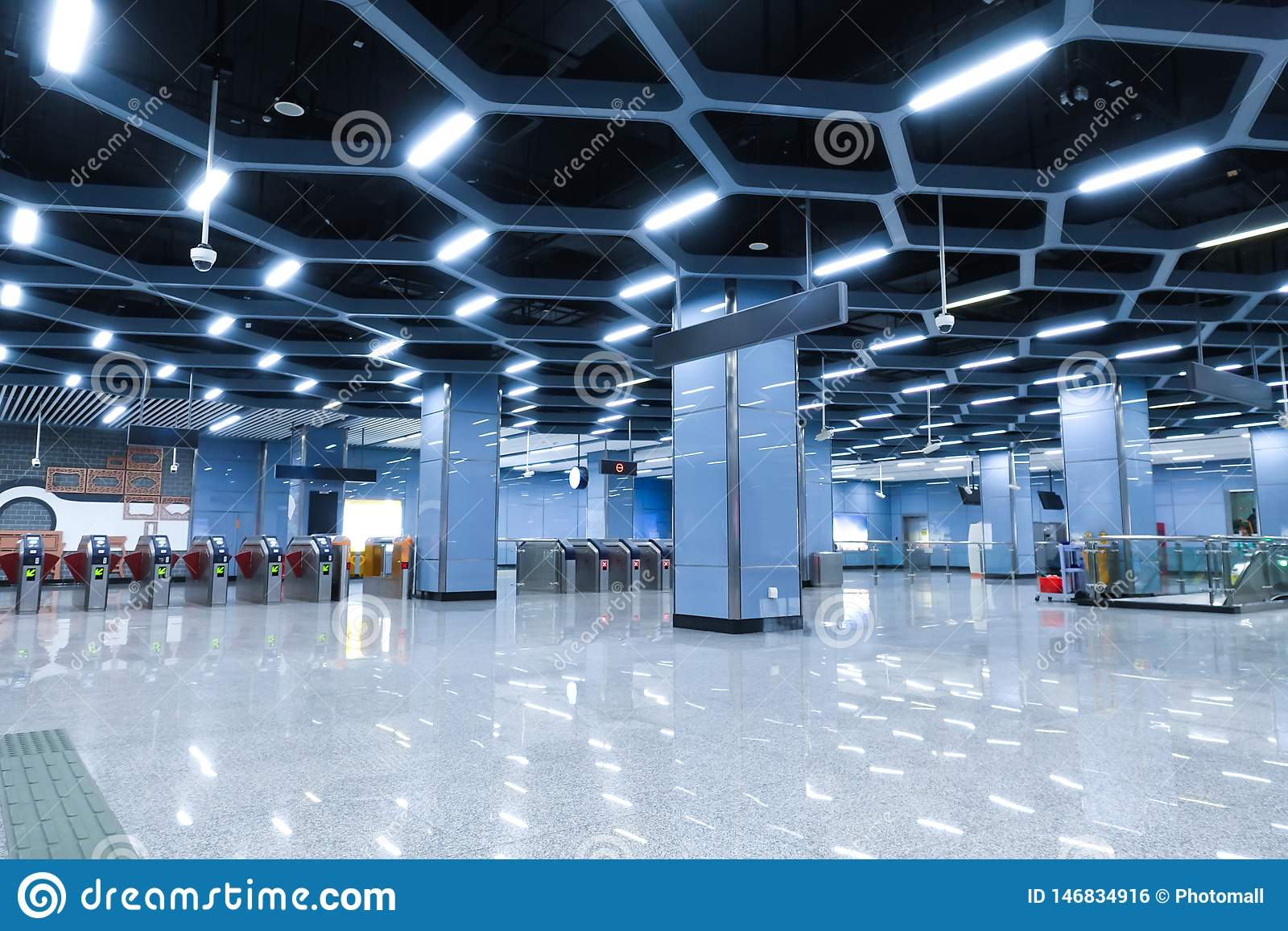 Interior Of Modern Architecture Commercial Building Led Lighting System Stock Photo Image Of Honeycomb Communication 146834916