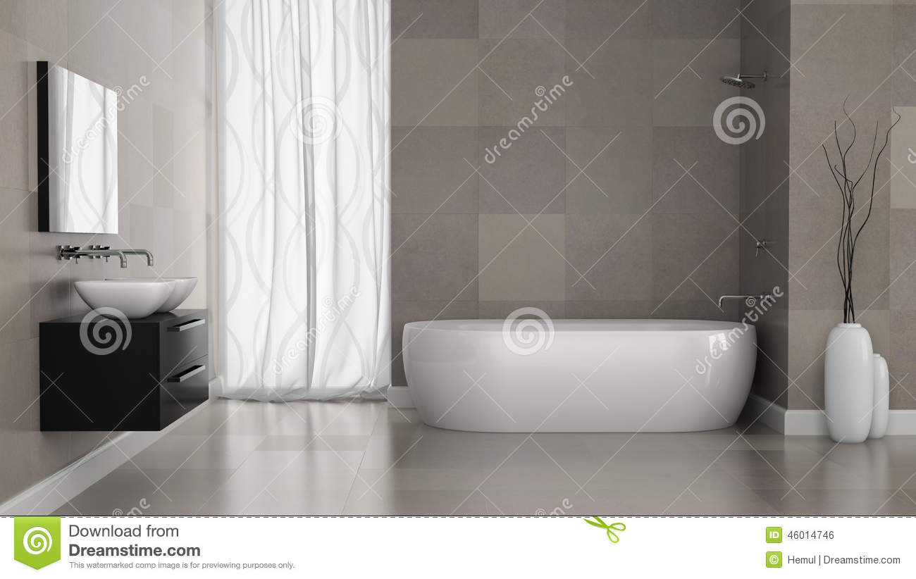 Interior of modern bathroom with grey tiles wall stock for Contemporary bathroom wall tiles