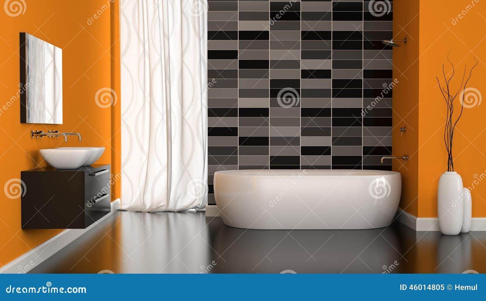 Interior of modern bathroom with orange wall stock for Salle de bain moderne orange