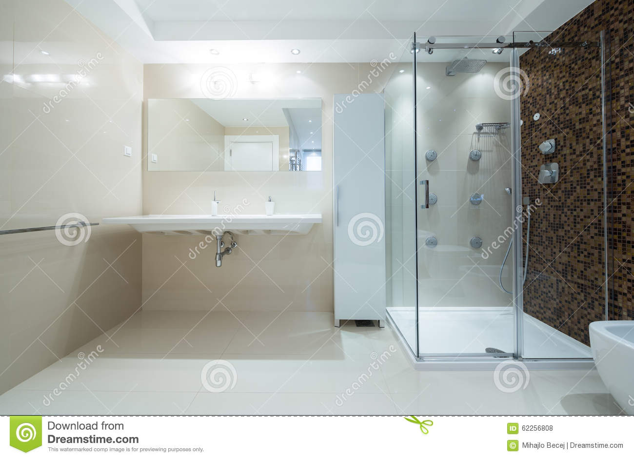 Interior Of A Modern Bathroom With Shower Cabin Stock Photo - Image ...