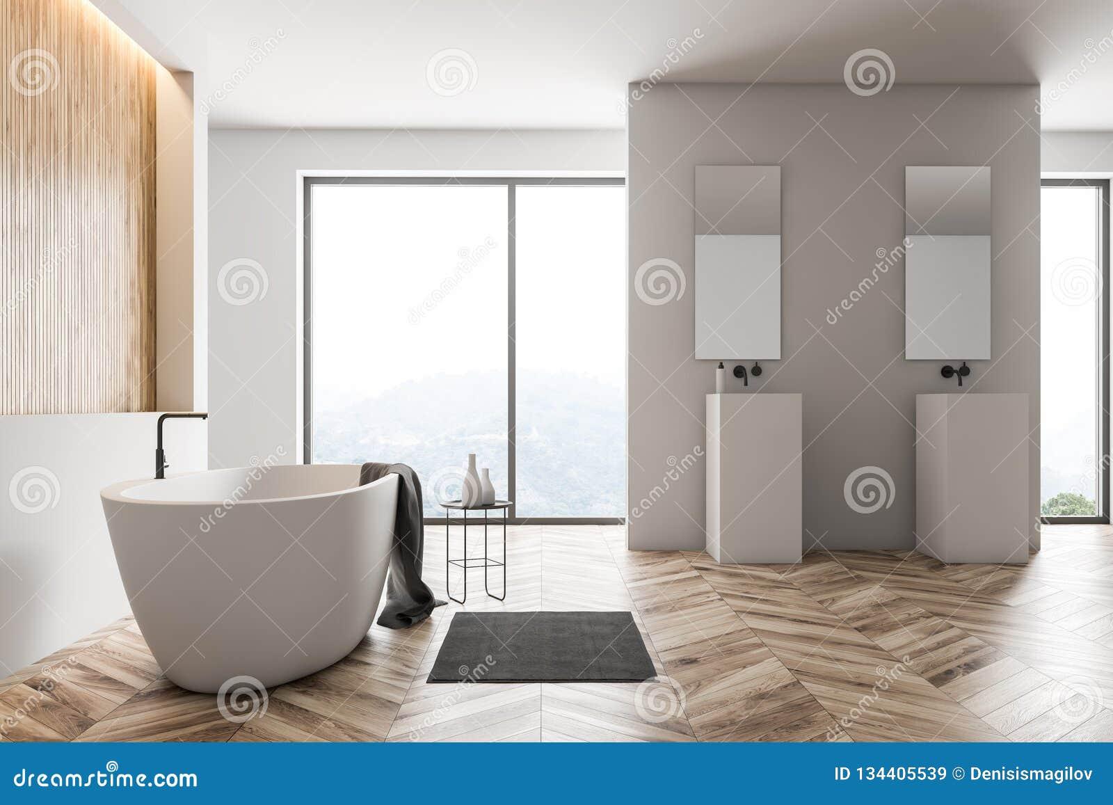 . White And Wood Bathroom  Window Stock Illustration   Illustration of