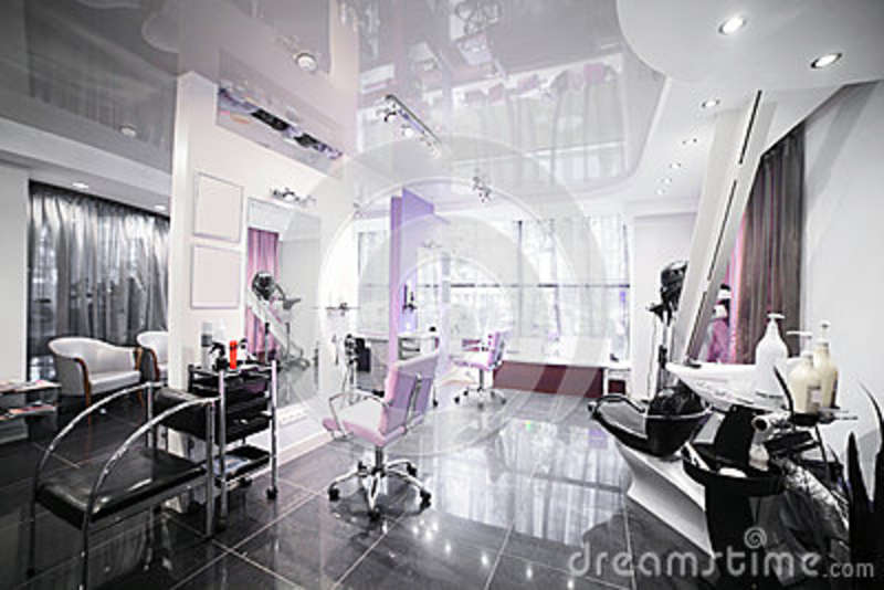 Interior of modern beauty salon stock photo image 42578378 for Administrar un salon de belleza