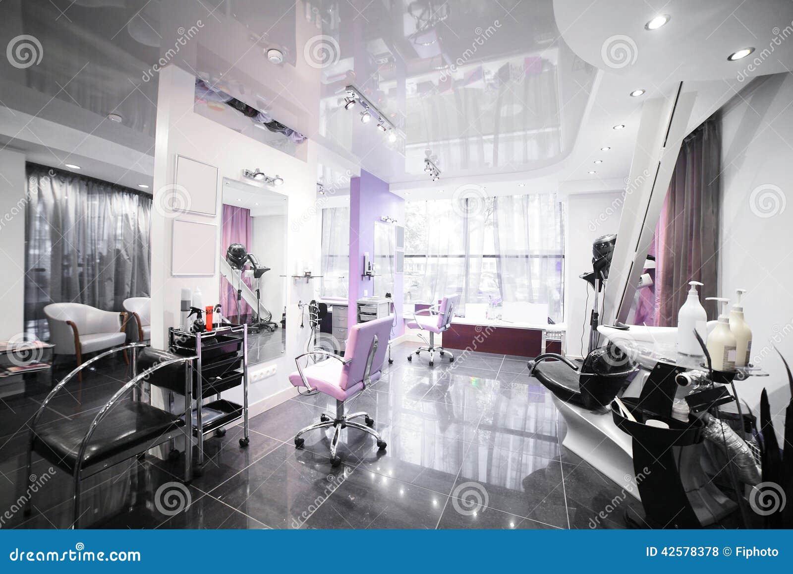 Interior of modern beauty salon stock photo image 42578378 for Administrar un salon de belleza