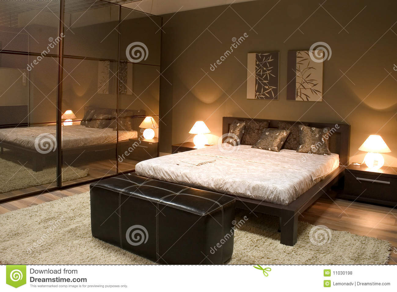 Modern Bedroom Mirrors Interior Of Modern Bedroom With Mirrors Royalty Free Stock Photos