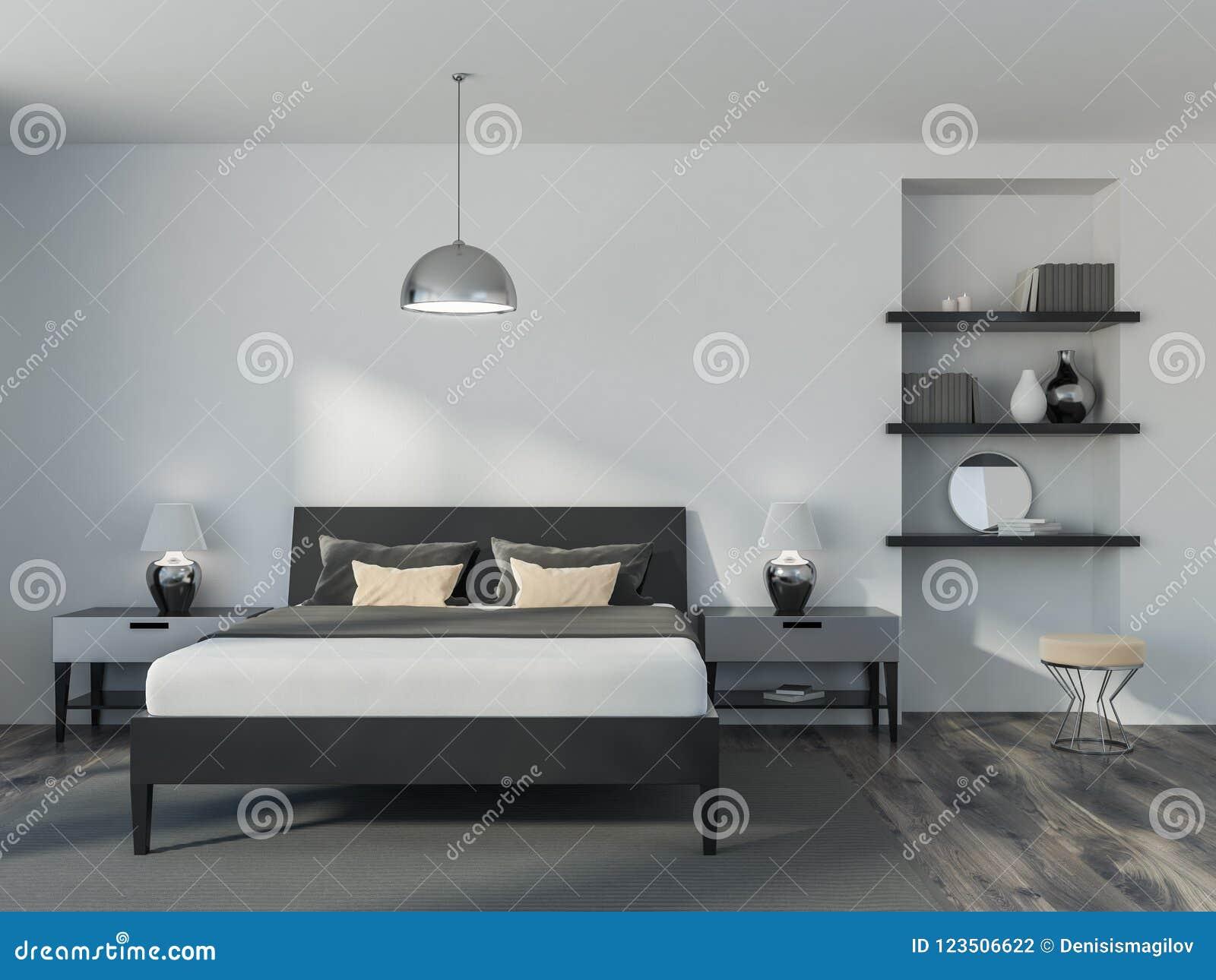 White Bedroom Interior Bookcase Stock Illustration