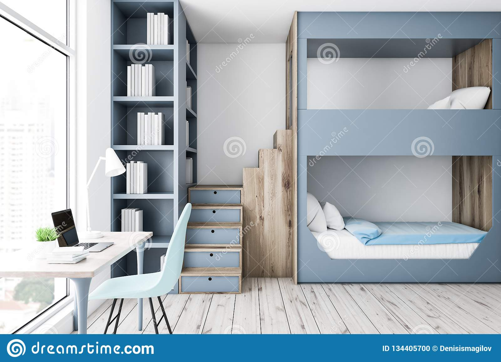 Picture of: Gray Bunk Bed Bedroom Interior Computer Desk Stock Illustration Illustration Of Chair Furniture 134405700