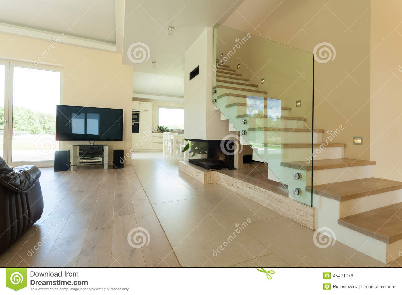 Interior of modern and bright house stock photo image of for Interni casa moderna