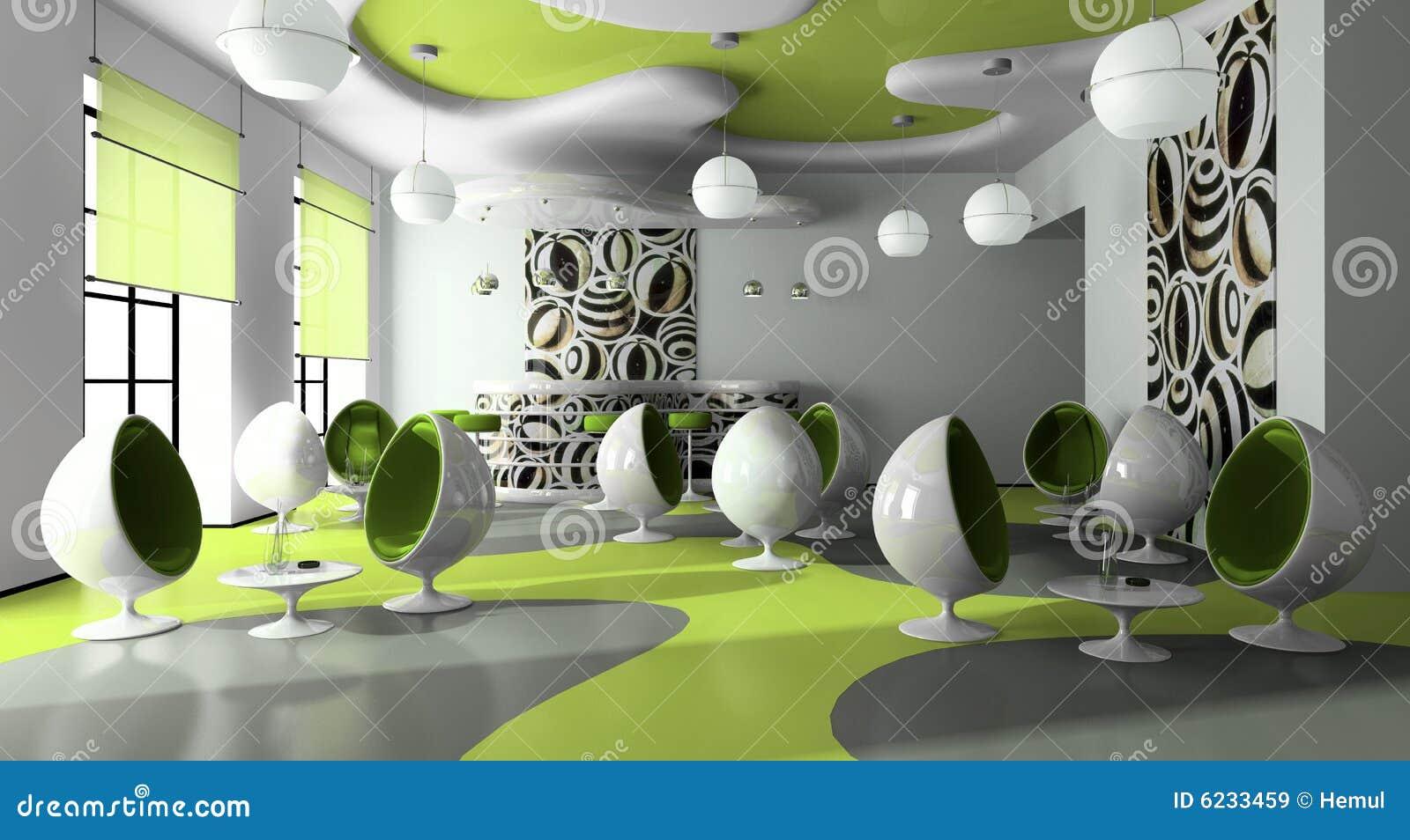 Interior Of The Modern Cafe Stock Illustration - Illustration of ...
