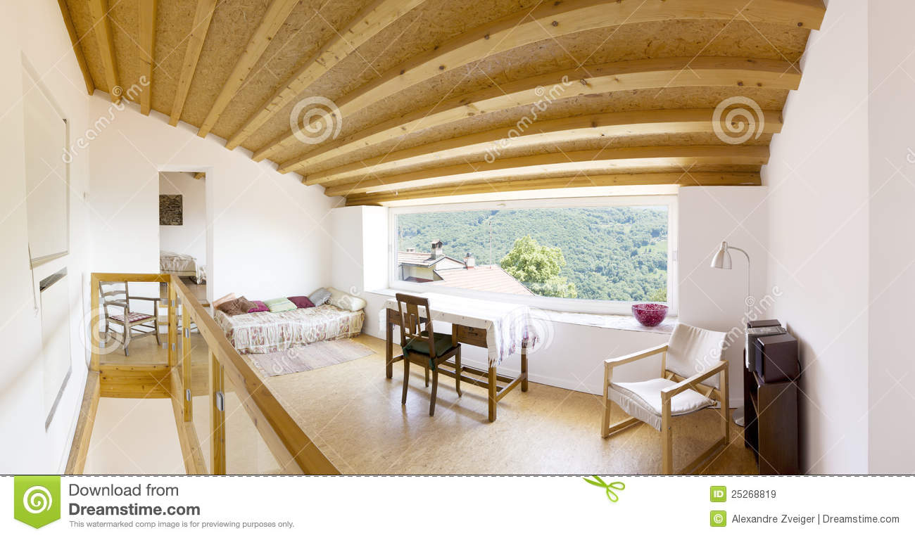 Interior modern chalet stock image image of space for Interieur chalet