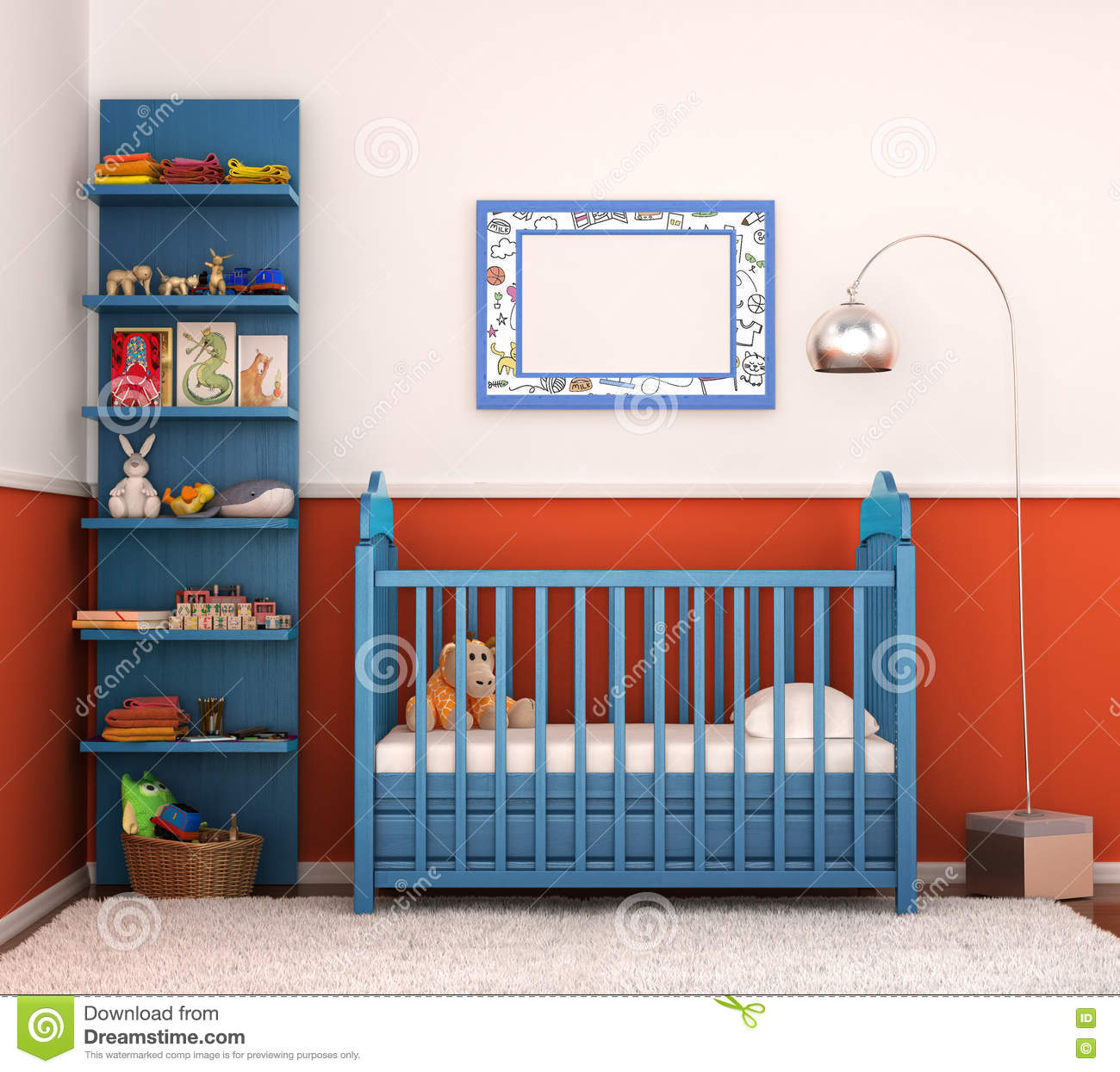 Interior Is Modern Children\'s Room With Bright Walls Stock ...
