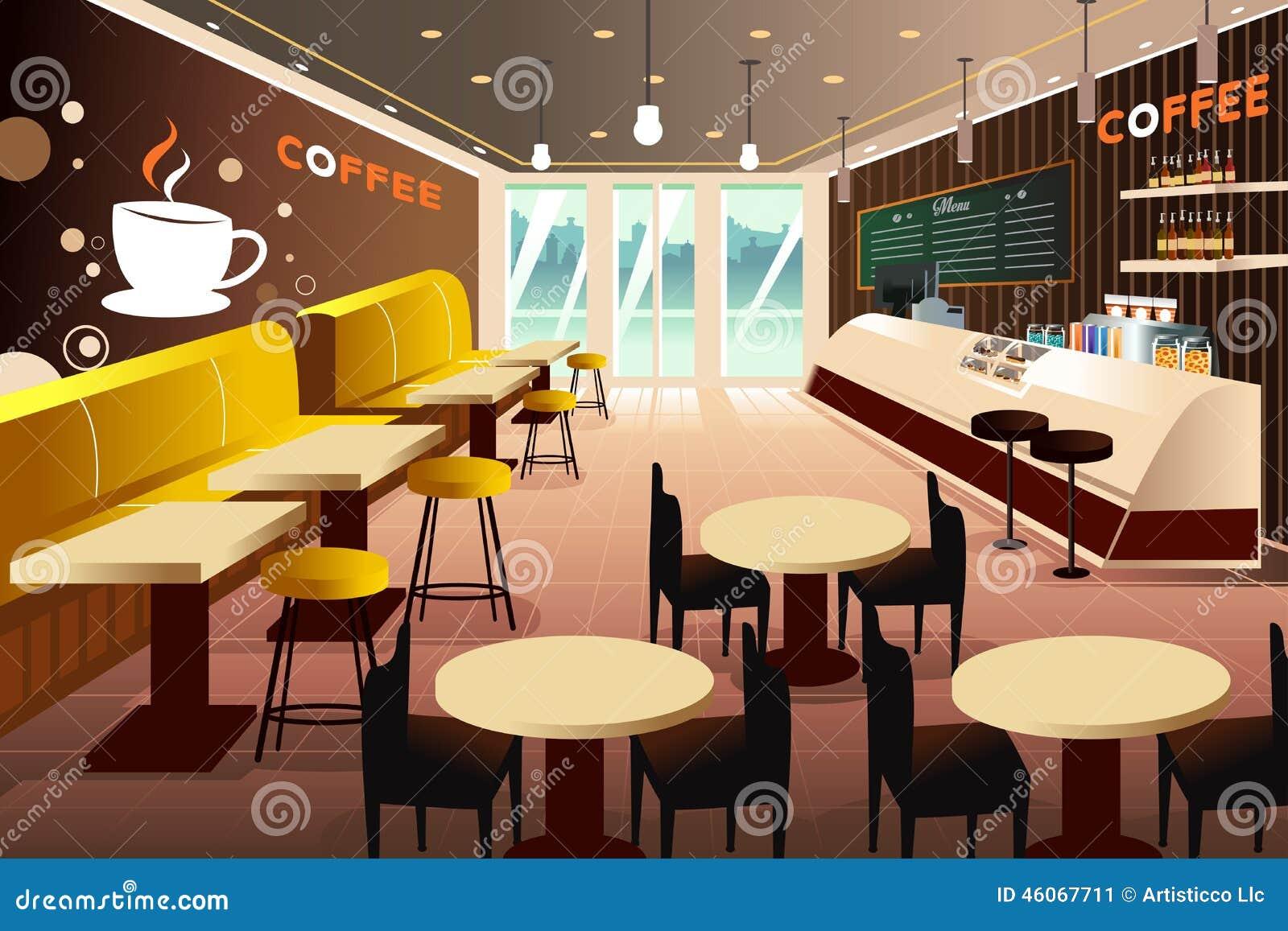 Interior of a modern coffee shop stock vector image