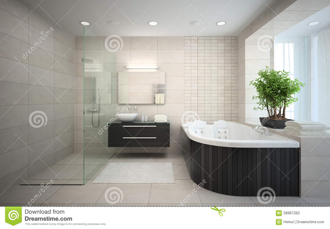 Interior of the modern design bathroom with jacuzzi stock for Jacuzzi interior barato