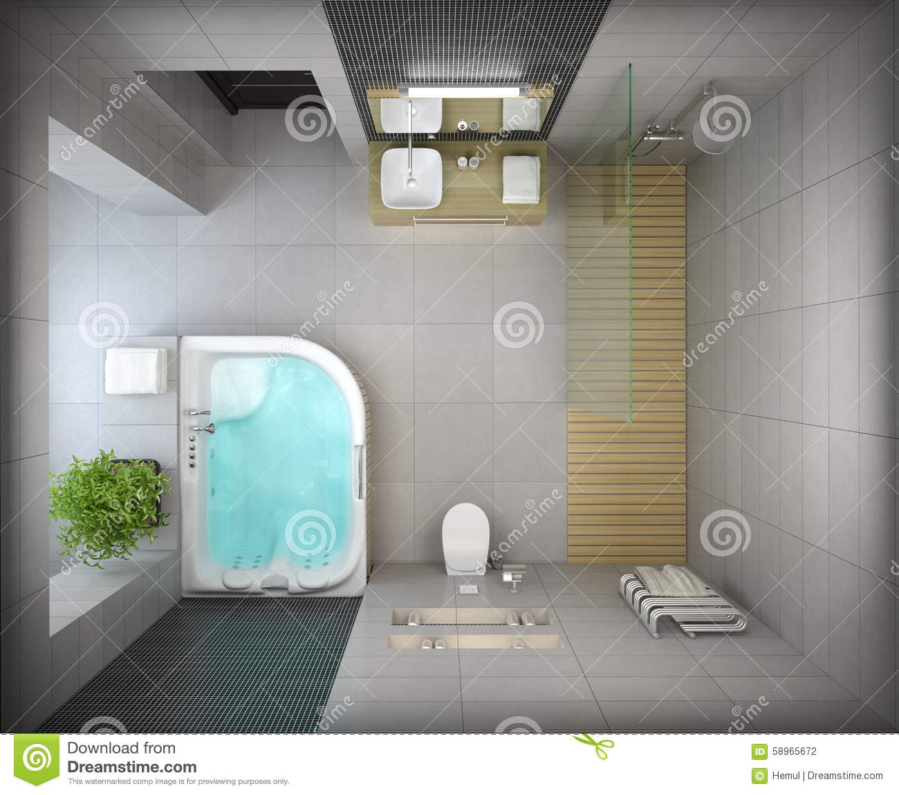 interior of the modern design bathroom top view stock