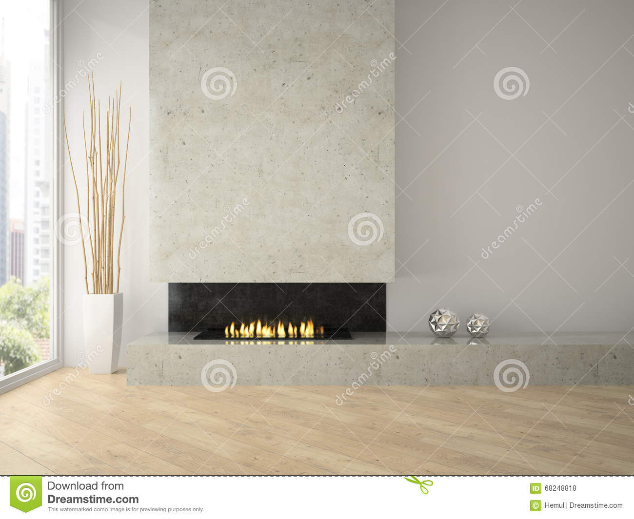 Interior of modern design loft with fireplace 3D rendering 2