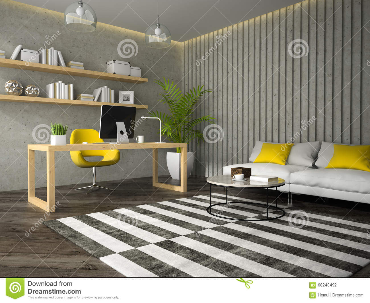 Interior of modern design office with coffe table 3d for Office table 3d design