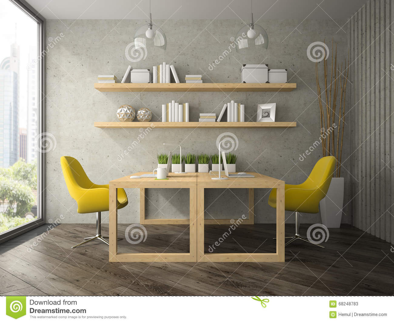 Interior of modern design office with two tables 3d for Office table 3d design