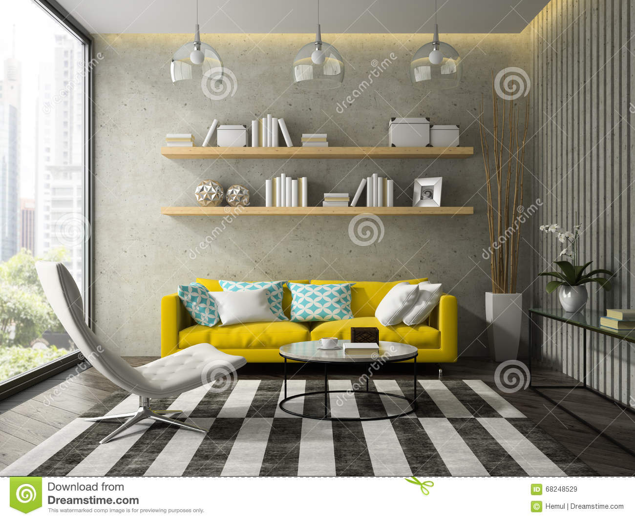 royalty free stock photo - Yellow Couch