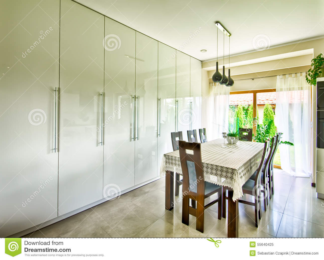 modern dining room cabinets | Interior Of Modern Dining Room Stock Image - Image of room ...
