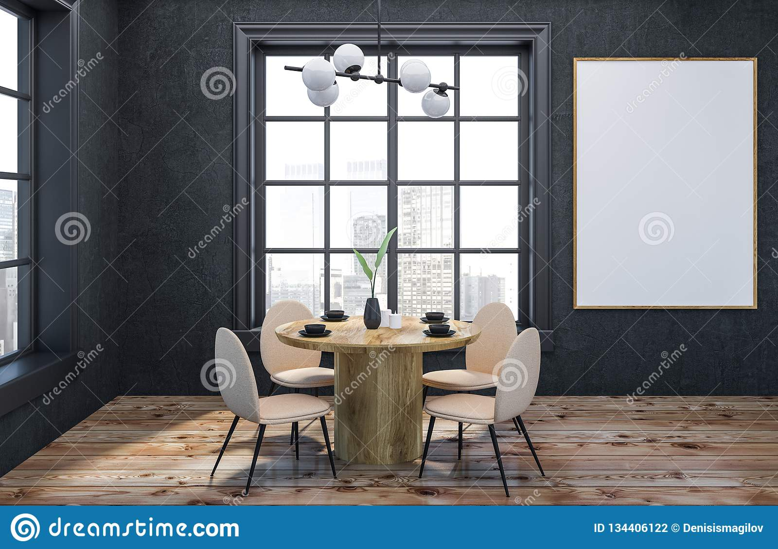 Gray Dining Room Interior With Poster Stock Illustration Illustration Of Living Chair 134406122