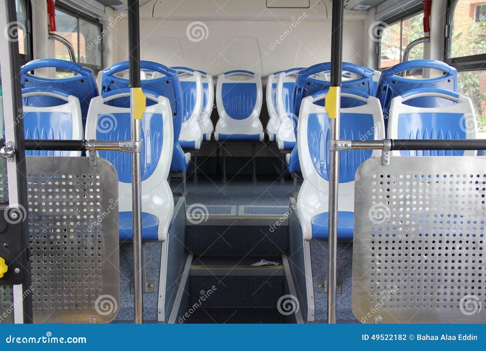 Interior of a modern empty city bus