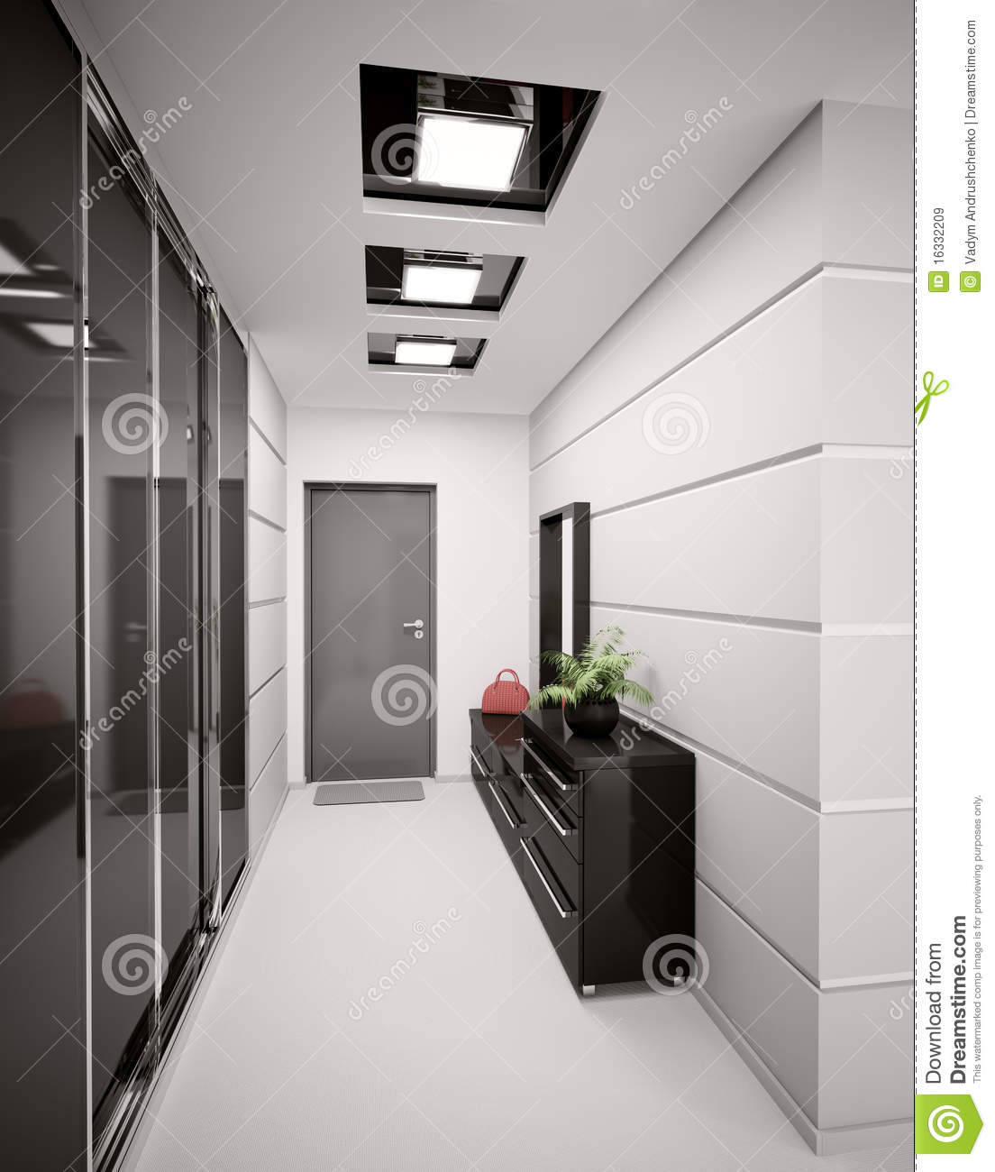 Interior of modern entrance hall 3d render stock for Modern entrance hall