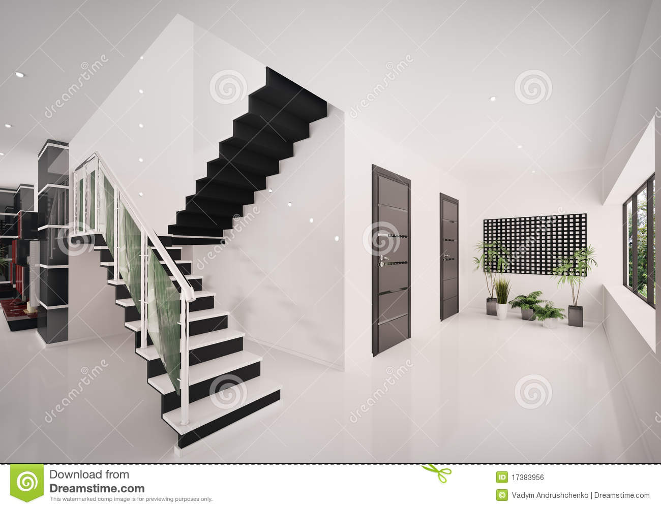 Interior of modern entrance hall 3d render royalty free for Modern entrance hall