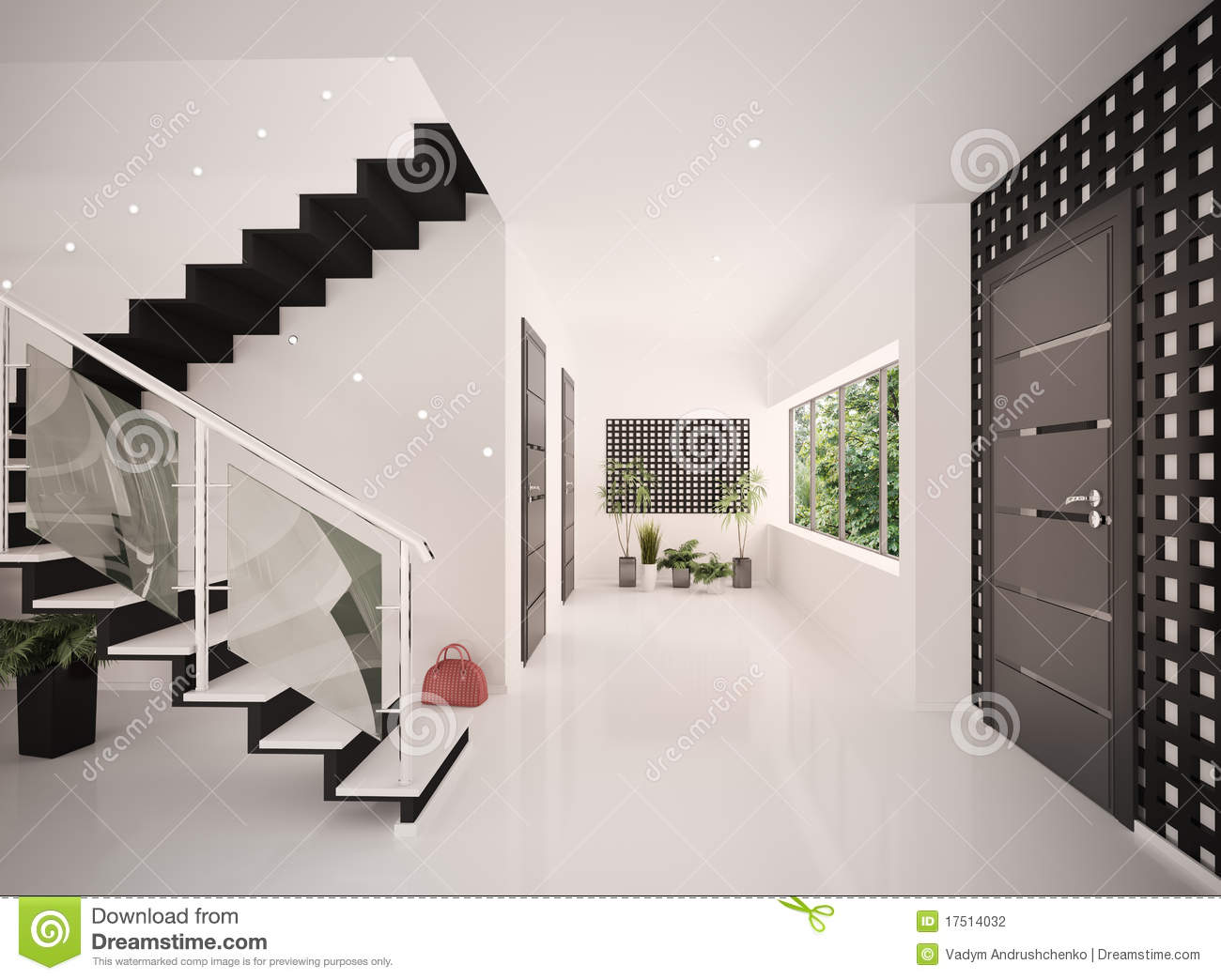 Interior of modern entrance hall 3d render stock for Modern house hall