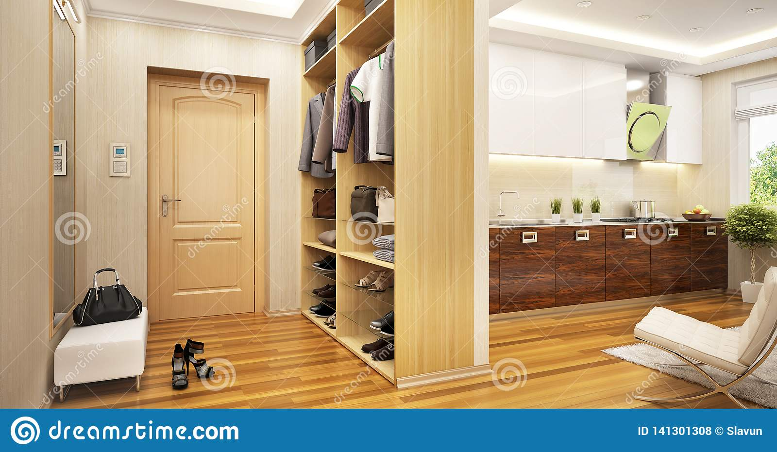 Interior Of Modern Entrance Hall And Modern Kitchen Stock Photo
