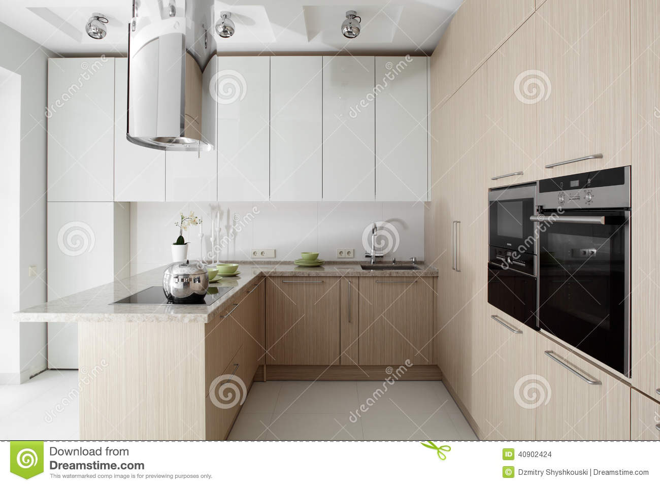 Interior Of Modern European Kitchen Stock Photo - Image of ...
