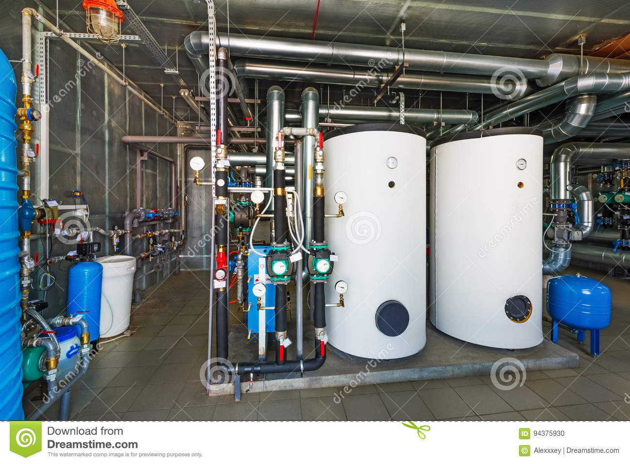 The Interior Of A Modern Gas Boiler House With Pumps, Valves, A ...