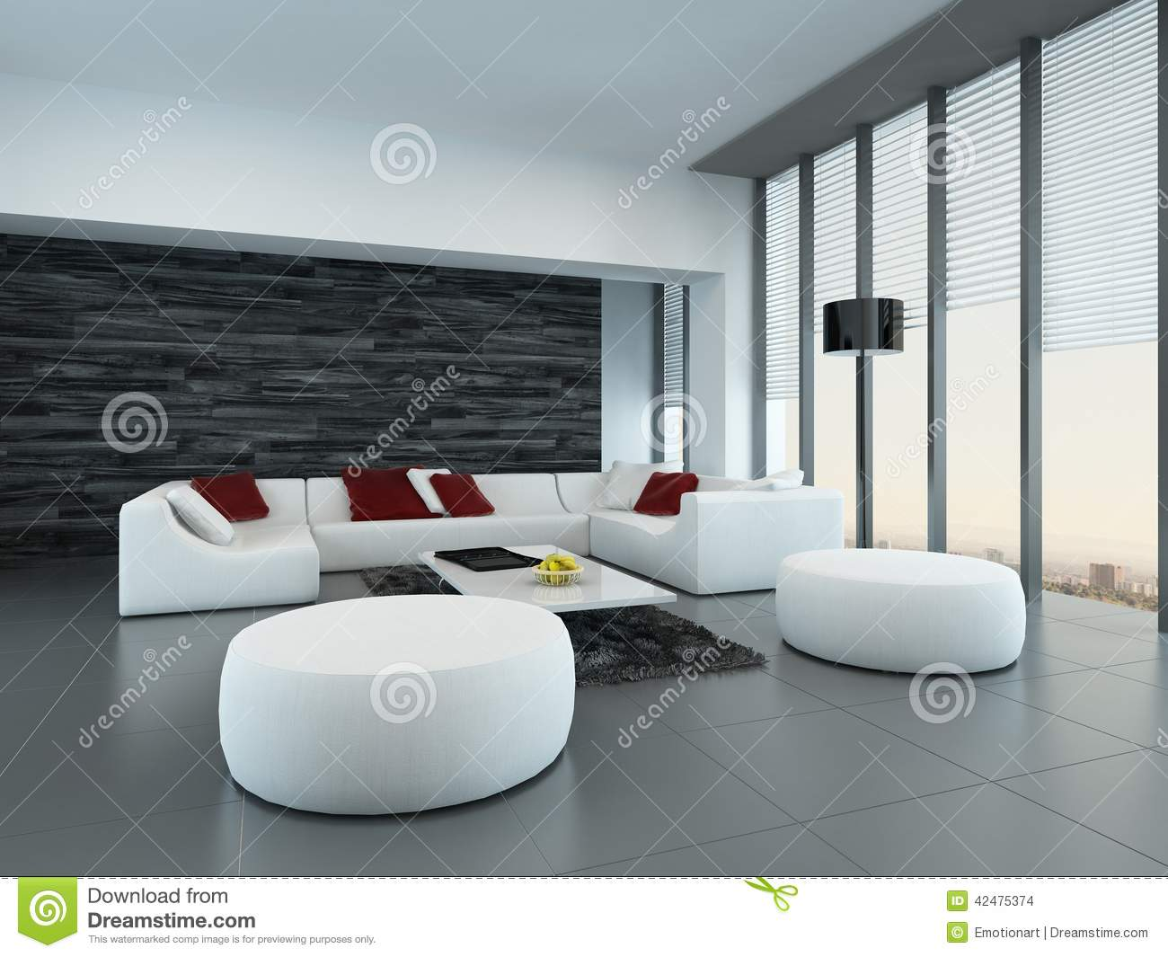 Modern Woonkamer Design : Interior of a modern grey and white living room stock illustration