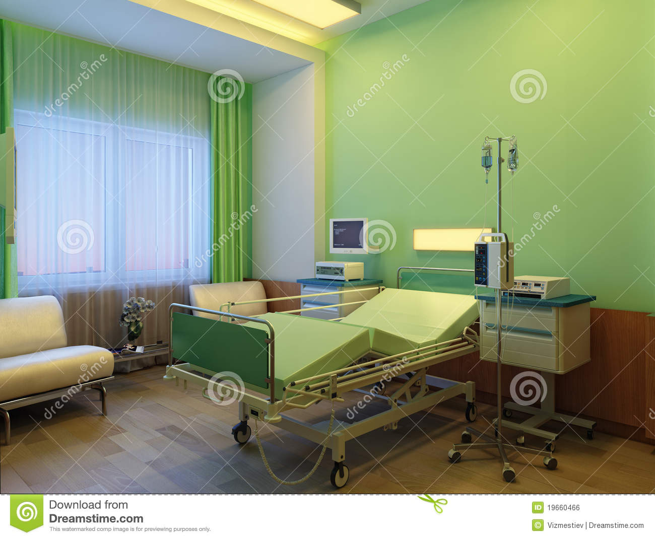 Modern hospital interior - Interior Of Modern Hospital At Night Royalty Free Stock Image