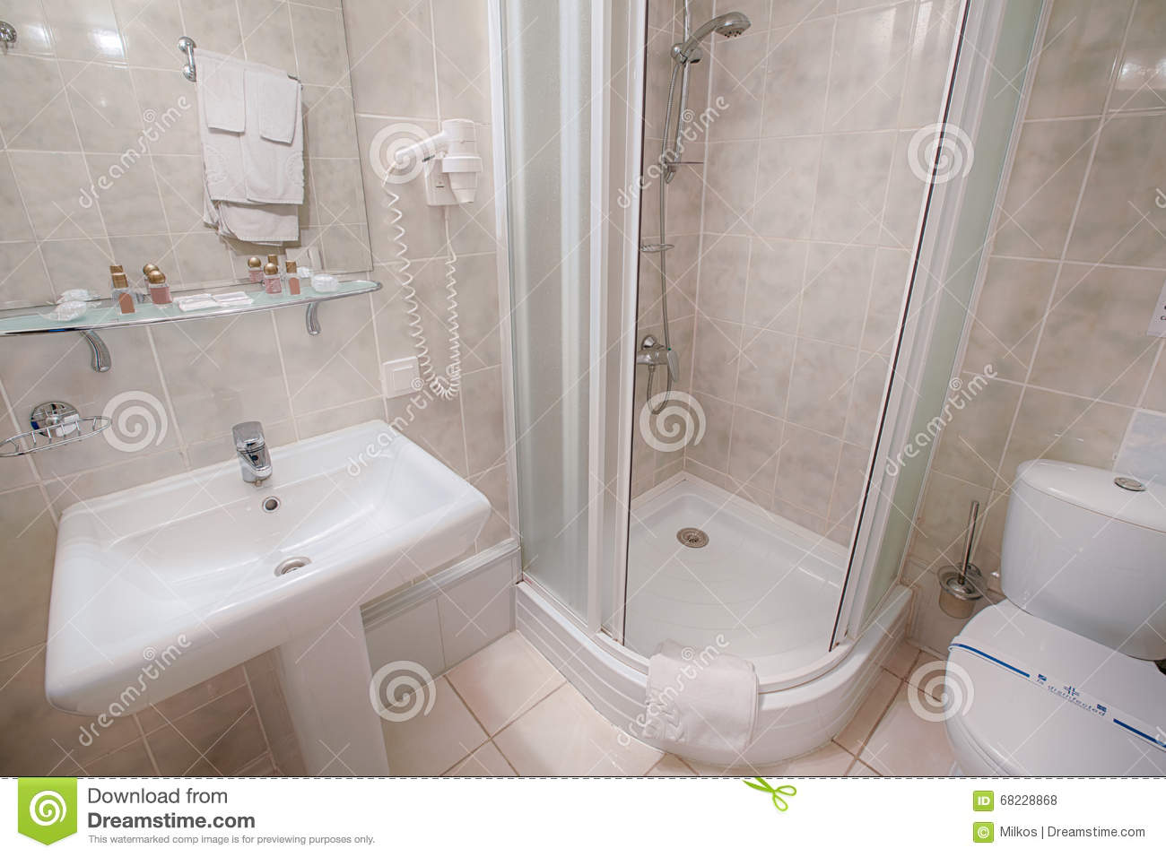 Interior of a modern hotel bathroom stock photo image for Clean bathroom designs