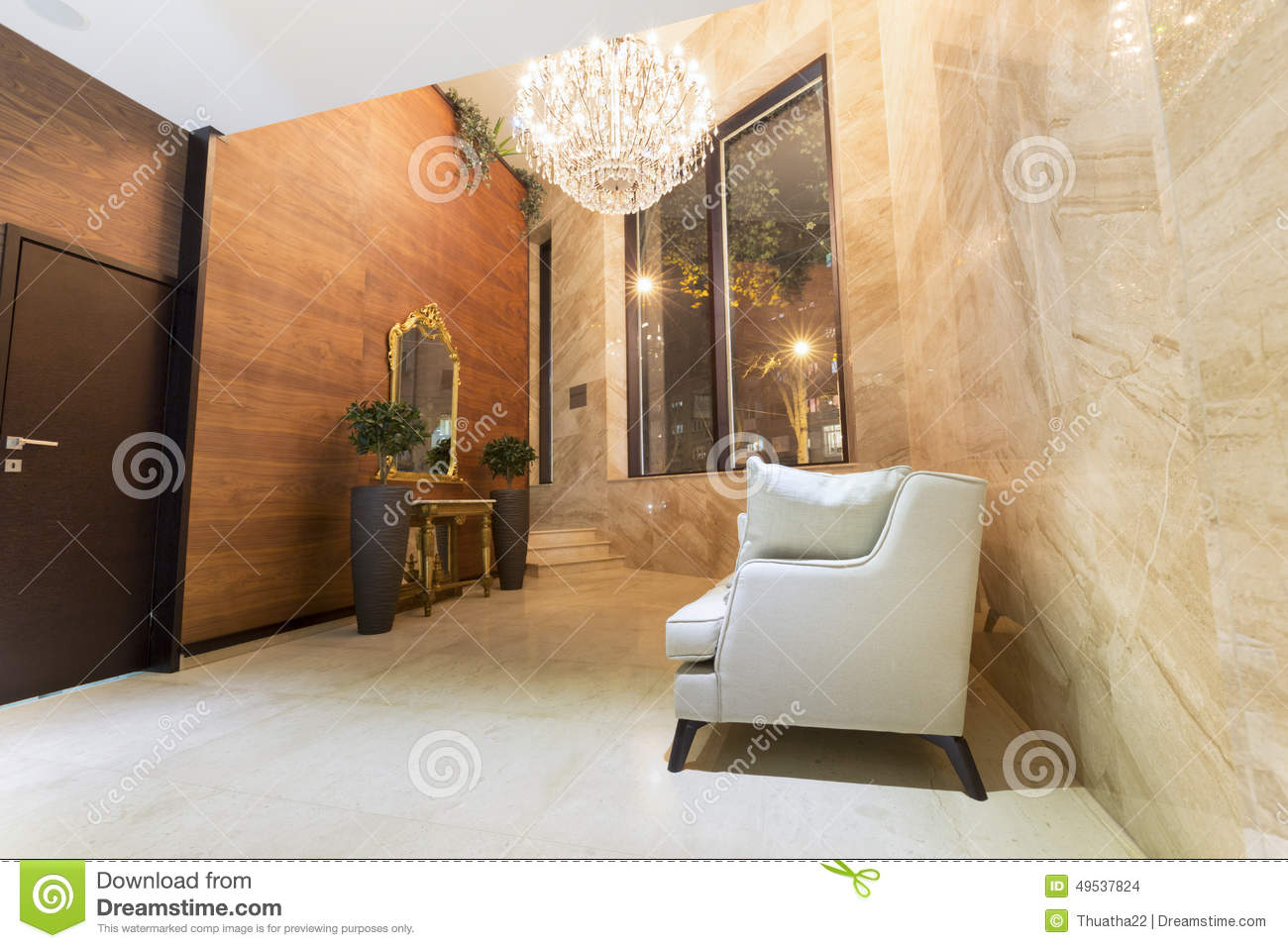 Interior Of A Modern Hotel Lobby Stock Photo , Image of