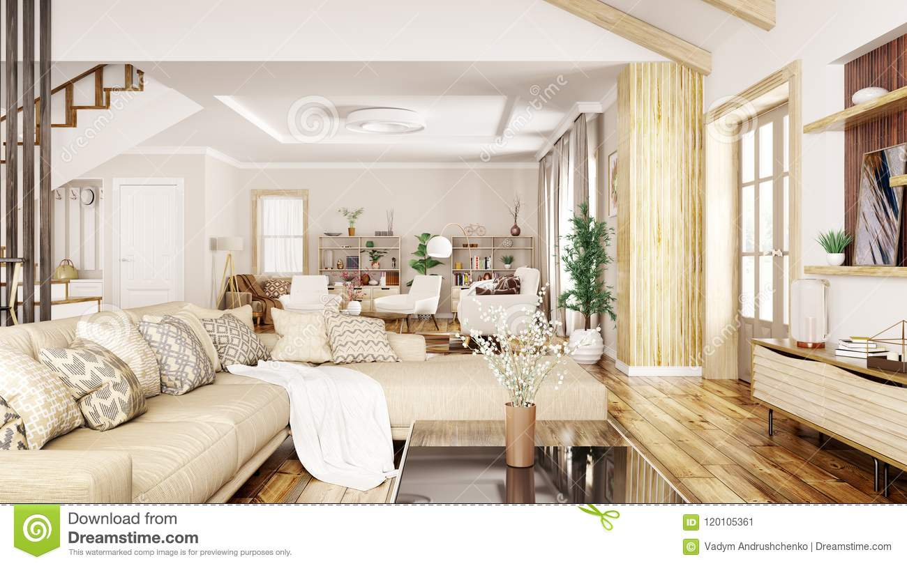 Modern interior design of house hall living room with sofa and armchairs 3d rendering
