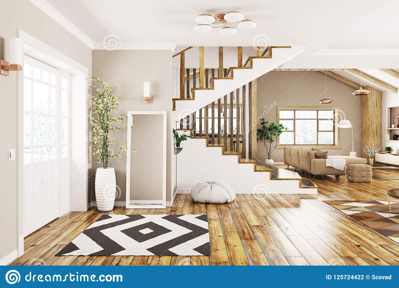 Modern interior design of house hall living room with staircase 3d rendering