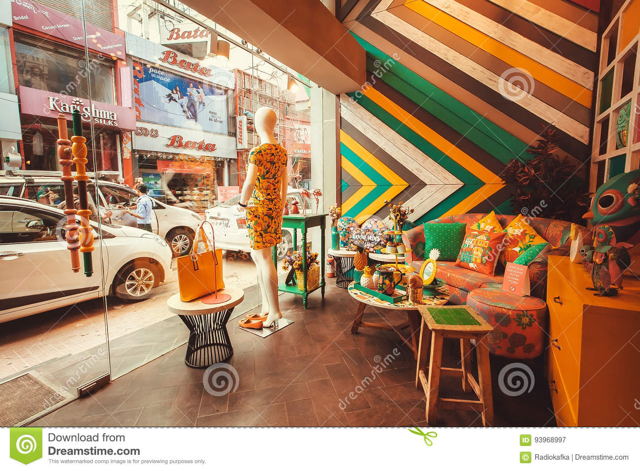 Bangalore india feb 14 interior of modern indian fashion store with showcase and vintage furniture on february 14 2017 with popul