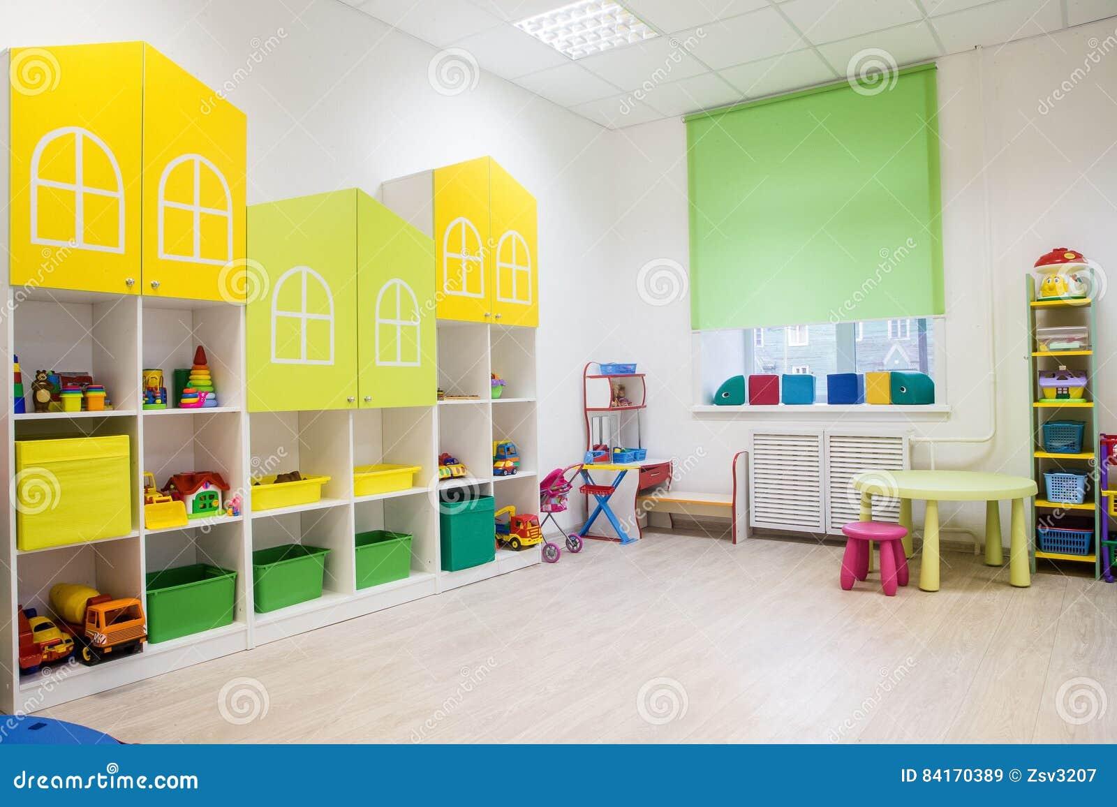 Minimalist Kindergarten Classroom : Interior of a modern kindergarten in yellow and green