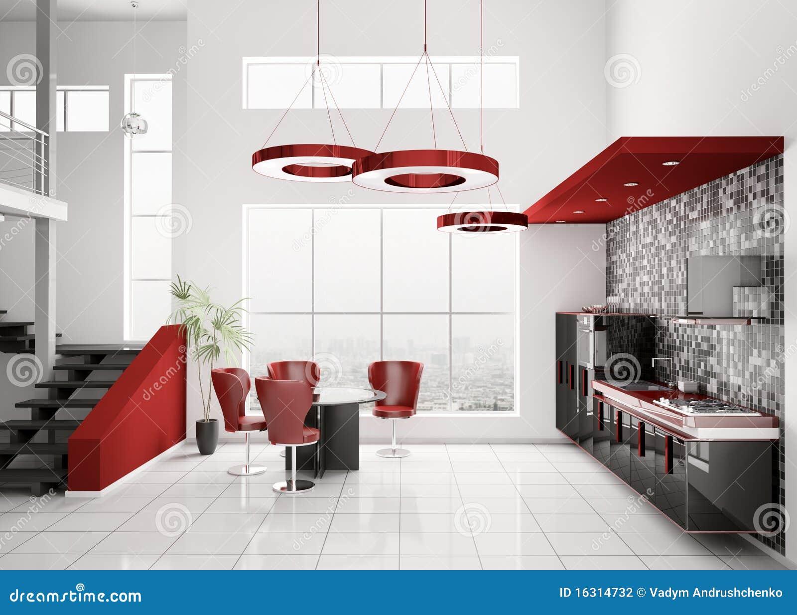 3d modern white kitchen stock image 71955541. Black Bedroom Furniture Sets. Home Design Ideas